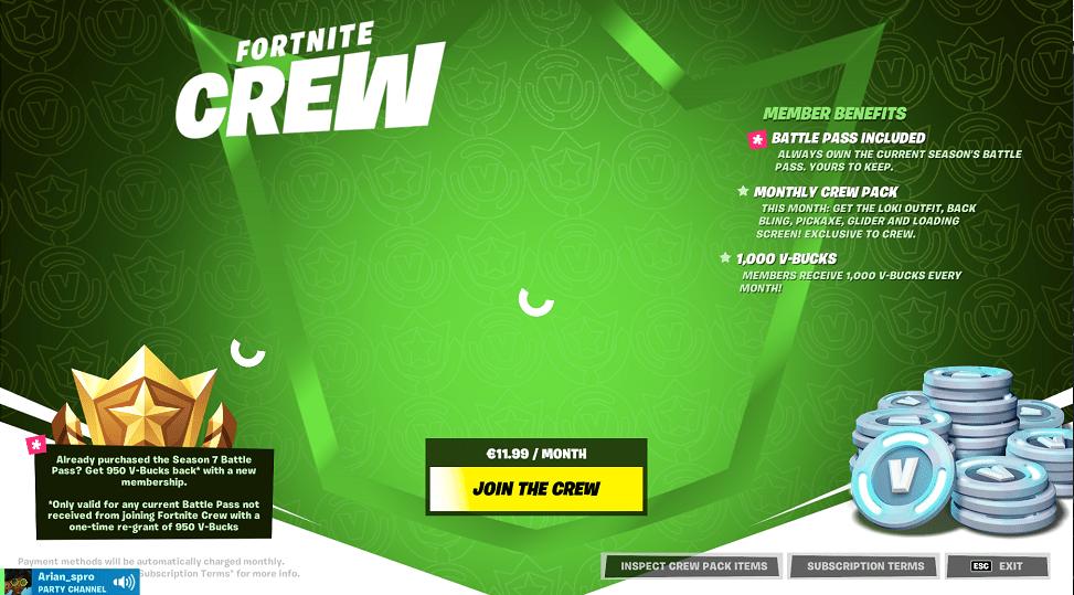 خرید Crew pack fortnite