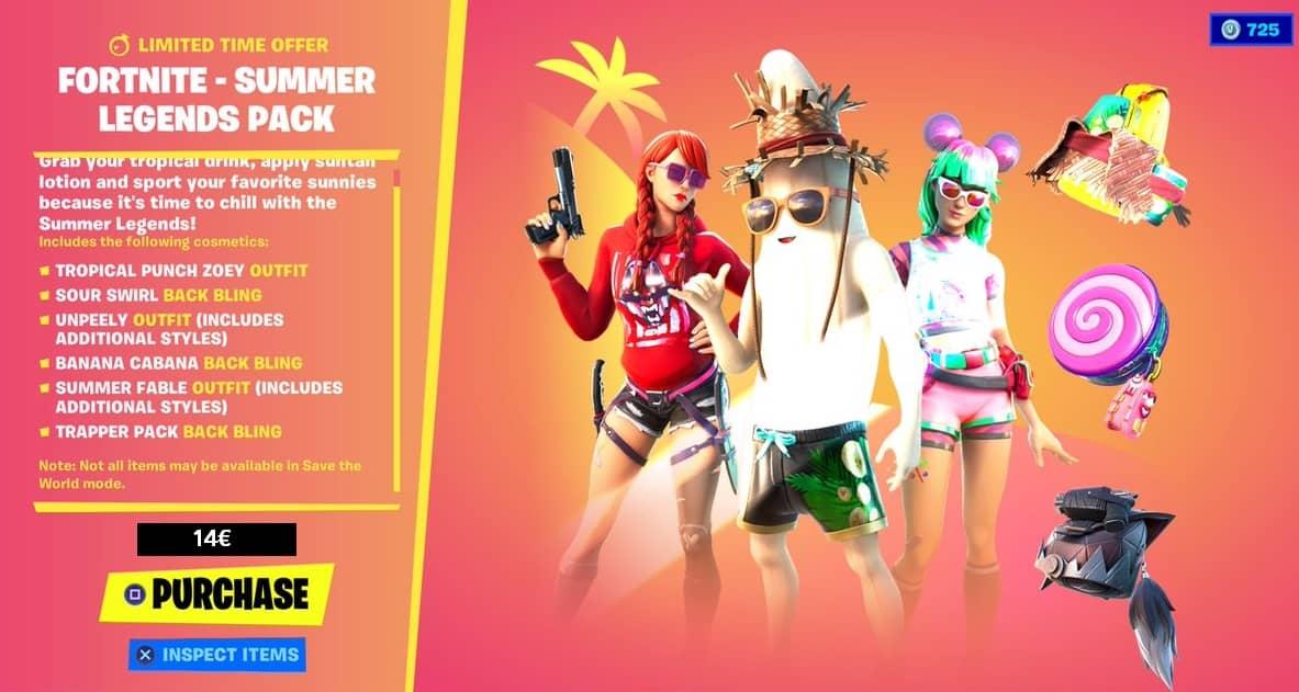 پک فورتنایت summer Legend Pack
